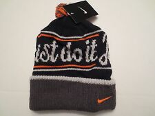 NIKE JUST DO IT POM BEANIE ADULT UNISEX Black Grey Orange CUFFED KNIT CAP NWT