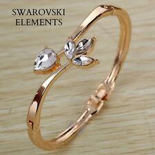 Bracelet gourmette bangle orné de Swarovski® Elements plaqué or jaune 18k