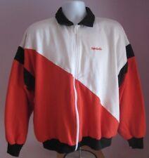 Vintage Mens Reebok Sport Crema/Rojo/Negro Chándal Top Talla Grande