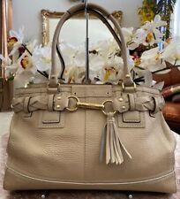 Coach 10529 Hamptons Cream Leather Belted Breaded Carryall Handbag EUC MSRP $398