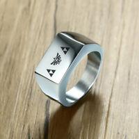 Silver Men's Square Ring Signet Legend of Zelda Triforce Personalized Engraving