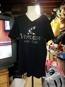 Stylish Hennesy black blue reversible Tagless Tee T-Shirt large nwot