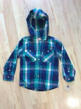 New Levi's Boys Long Sleeve Hooded Teal & Blue Plaid Shirt Hoodie Small 4/5