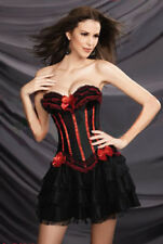 Black Red Corset+Mini Skirt Lolita Burlesque Moulin Rouge Costume Frill 6-8 S