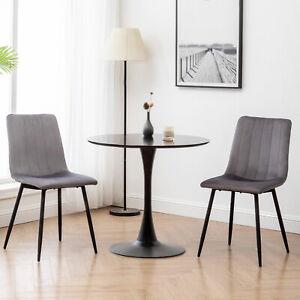 Velvet Dining Chairs 2pc Upholstered Chair Metal Legs Home Living Room Kitchen