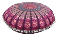 Indian Mandala Floor Pillow Cases Boho Cotton Round Throw Cushions With Insert