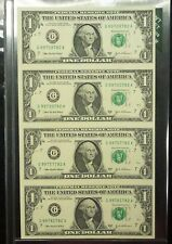 {BJSTAMPS}  2003 A UNCUT $1 Sheet of 4 Federal Reserve Notes CHICAGO Bank