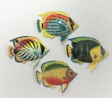"""6"""" Tropical Fish Set Of 4 Colorful Lite Weight Resin Fish Wall Art Decor #3"""