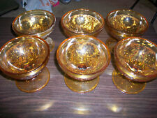 Tiara Indiana Glass Amber Lot of 6 Footed Sherbet Dessert Ice Cream DIshes Bowls