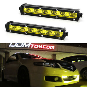 18W Yellow CREE LED Daytime Running Light Kit w/ Relay Wire Harness For Car SUV