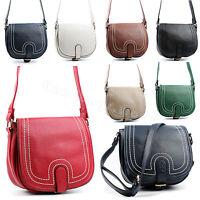 Ladies Leather Style Shoulder Bag Cross Body Satchel Handbag Purse