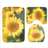 3 Piece Sunflower Non-Slip Bathroom Contour Rug + Lid Toilet Cover +Bath Mat Set