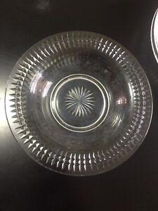 "6 - Vintage WIDE RIMMED SOUP BOWLS 9"" x 1.5"" Cut Glass CRYSTAL Rare BRILLIANT"