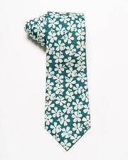 Isaia Napoli NWT $230 Green White Floral Pattern Cotton Silk Blend Tie 3��
