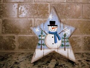4 1/2 inch high Primitive wood Star Painted Glitter Snowman Stressed Shelve sit