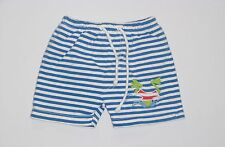 Le Top Diving Frog Blue & White Striped Swim Suit Trunks, 3 mos.