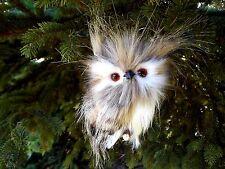 Plush Furry Feather Brown White & Black Owl Branch Ornament