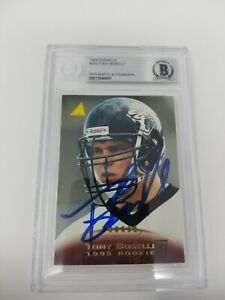 Tony Boselli 1995 Pinnacle Rookie Card  Signed Autographed Card Beckett  Slab