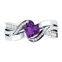 Women Heart Shape Amethyst 925 Silver Jewelry Romantic Wedding Ring Size 6-10