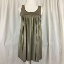 Romeo And Juliet Couture Dress Size Medium Gold Pleated Sleeveless NEW