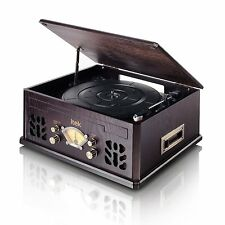 iTek Nostalgia Wooden Music System Record CD Radio AM FM Cassette Player 160011
