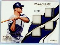 MICKEY MANTLE 2019 Panini Immaculate Collection Quad Jersey Patch 18/49 Yankees