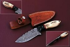"""9"""" CUSTOM HAND MADE DAMASCUS HUNTING KNIFE HANDLE STAG HORN/BLACK HORN/BRASS PIN"""