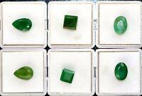 Natural Emerald Loose Gemstone Set 22.75 Ct/6Pcs Colombian Mix Cut Certified