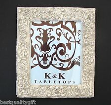 "NEW TABLETOPS IVORY WHITE PEARL CLASSIC PICTURE+PHOTO FRAME-8.5"" x 10.5"""