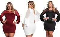 Bodycon Dress Plus Size Ladies White Black Red Mesh Trim Bell Sleeve 14 16 18