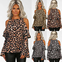 Womens Leopard Print Long Sleeve Cold Shoulder Blouse Shirt T-Shirt Casual Tops
