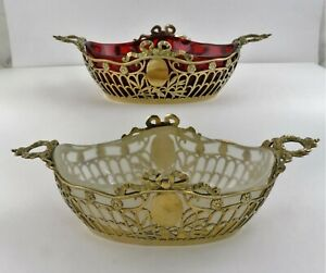 BEAUTIFUL PAIR of SILVER-GILT SWEET DISHES Chester 1901 CLEAR & RED GLASS LINERS