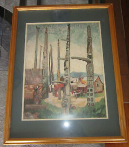 Emily Carr (Canada) - Totems at Kitseukea - vintage lithograph