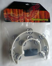 NEW YORK PRO TAMBOURINE, ORIGINAL IN BAG, HALF MOON STYLE, PLASTIC HANDLE
