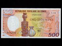 Congo:P-8c,500 Francs,1990 * Statue * UNC *