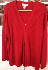 SAG HARBOR WOMAN PLUS 2X long sleeve double layer SWEATER christmas red new