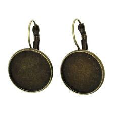 20 Boucle d'Oreille Support de Camée Cabochon Bronze 3.1x2cm