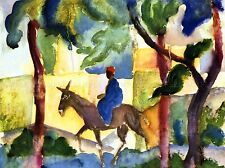 August Macke Donkey Rider Old Master Art Painting Print Poster 30X40 Cm 253Oma