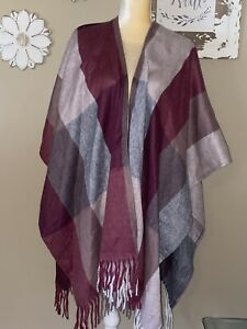 Woolrich Polyester Fleece Wrap/Shawl/Cape/Poncho  Plaid Jacket Coat Tall~All