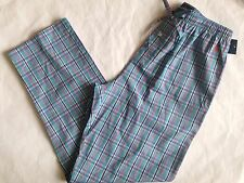 NWT Mens Polo Ralph Lauren Turquoise Plaid Cotton Pajama Lounge Pants M 32-34