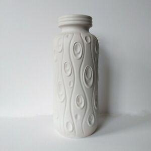 """Large West German Scheurich 288-30 """"Koralle"""" Vase White, Midcentury Fat Lava 70s"""