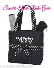 DIAPER BAG personalized baby tote Black white Polka dots monogram NEW