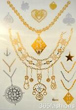 STATEMENT NECKLACE STYLE METALLIC FLASH TEMPORARY TATTOO SHEETS GOLD SILVER