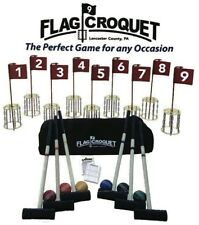 GOLF CROQUET SET w/ CARRYING CASE 9 Disc Chain Pin Holes AMISH USA HANDMADE