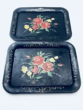 Vintage Decorative Floral ROSES Pattern Metal TV Tray Set Of Two