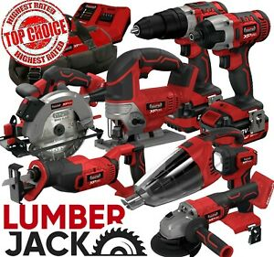 20v Cordless Li Ion 8 Piece Combo Kit with 4 Batteries & Fast Charger Lumberjack