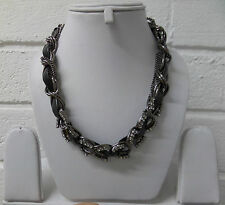 Womens Ladies New Short Black Glitzy Diamante Silver Chain Choker Necklace
