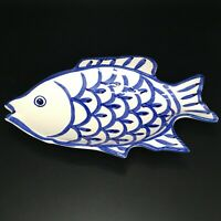 Ceramic Fish Dish Neiman Marcus Japan White Blue Shallow Bowl Dish 10.25 Inch