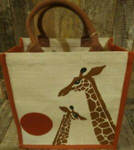 JUTE SHOPPING BAG AFRICAN GIRAFFE DESIGN ECO AND FAIR TRADE STORAGE 30x30x20 CM