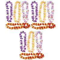 Lot of 12 Flower Leis Hawaiian Luau Tropical Beach Wedding Favors Silk Like